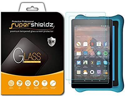 (2 Pack) Supershieldz for Fire HD 8 and Fire HD 8 Kids Edition Tablet (8th and 7th Generation Only, 2018 and 2017 Release) Tempered Glass Screen Protector Anti Scratch, Bubble Free