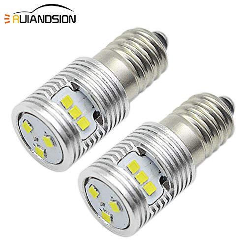 Ruiandsion 2 piezas E10 Base LED Upgrade foco 3V 1W Reemplazo para Faros Linterna LED Kit de conversión Bombillas, Tierra Negativa