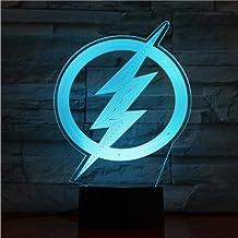 Marvel Avengers Iron Man Spider-man Super held 3D-nachtlampje, ledlamp voor kinderen, meisjes en jongens Flash Logo Dc Aut...