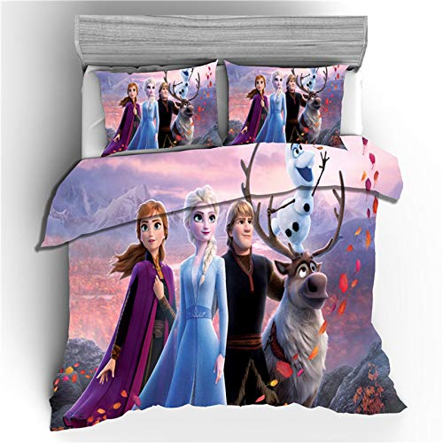 BLSM Disney Forzen Print Single Double King Size Children Duvet Cover,Cartoon Olaf Anna Elsa Kristoff Sven Design Bedding Set for Girls Women Gift (C,220X240)