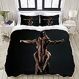 FOURFOOL Bettwäsche-Set,Schwarz sexy Mann Frau nackt,Dekoratives 3-teiliges Bettwäscheset mit 2 Kissenbezügen,Einzelgröße(135 x 200cm)