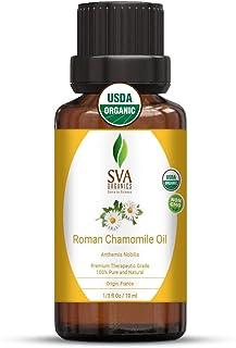 SVA Organics Roman Chamomile Oil (1/3 Oz) 10 ml Organic USDA Certified 100% Pure Natural Therapeutic Grade Oil For Skin Ca...