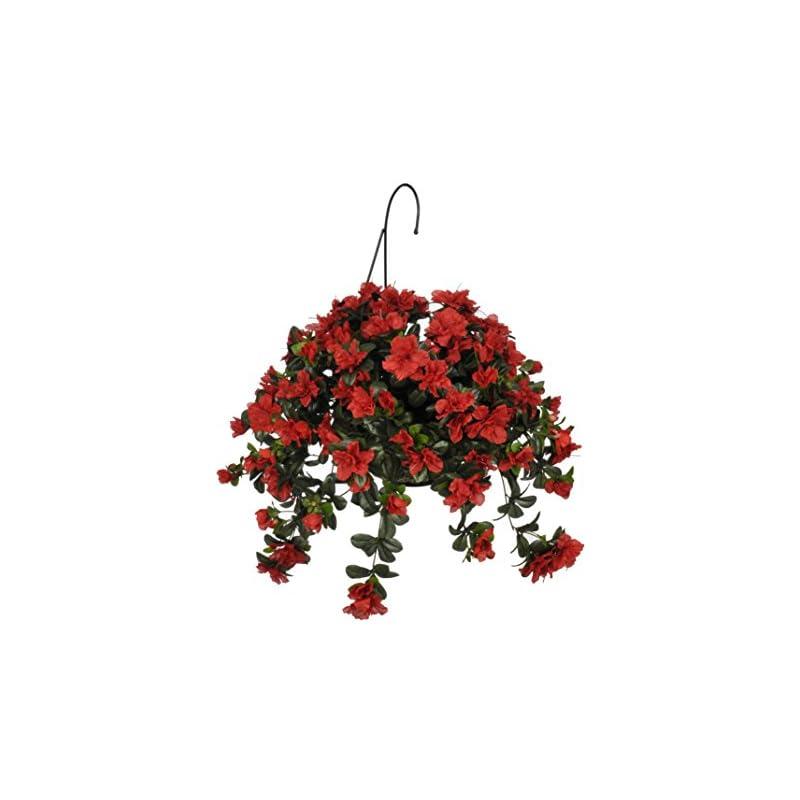 silk flower arrangements house of silk flowers artificial azalea hanging basket, red