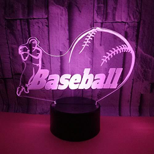 3D optische illusie lampen baseball spelen LED 7 kleuren touch-schakelaar wijzigen nachtlicht met afstandsbediening en USB-kabel voor slaapkamer Home Decoration
