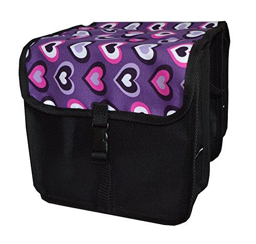 Beluko FAHRRADTASCHE Kinder Satteltasche Gepäckträgetasche Doppel 2 x 5l (6. Mini - Herz)