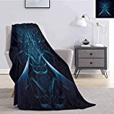 ERshuo Fractal Soft Throw Blanket For Bed Couch Abstract Spooky Hollow with Dynamic Line Effects Creative Modern Computer Art Pattern Lightweight Life Comfort Blanket Blue 60x80IN