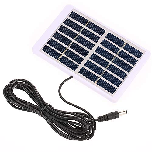 Decdeal Solarpanel Solar Ladegerät mit 5521 DC Ausgang 3M Kabel Batterieladegerät Polykristalliner Sonnenkollektor für Garten Verkehr Notlicht Solarpumpe 1.2W / 6V, 84 x 130mm