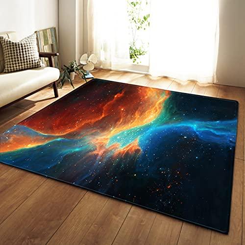 Alfombra Para Niño Galaxia Cielo Estrellado 3D Planeta Espacio Exterior Rug de Decoración de Dormitorio de Sala de Estar de Franela Antideslizante,Morado Azul Naranja Carpets (Multi 3,120x160 cm)