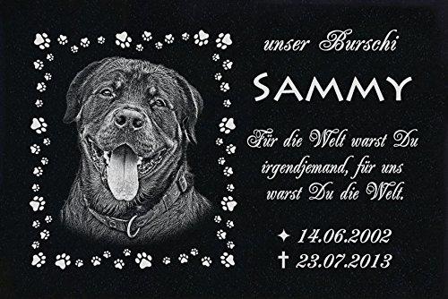 """GRANIT Grabstein - Grabplatte - Grabschmuck mit der Lasergravur des Motives """"Hund-ag46"""" (mit dem Musterbild oder Ihrem eigenen Foto - siehe Auswahl) und Ihrem Foto/Text und Daten von LaserArt24"""