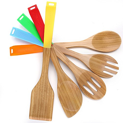 COOKSMARK 5 Piece, 13-Inch Bamboo Wood Nonstick Cooking Utensils - Wooden Spoons and Spatula Utensil Set with Multicolored Silicone Handles in Red, Yellow, Green, Orange, Blue