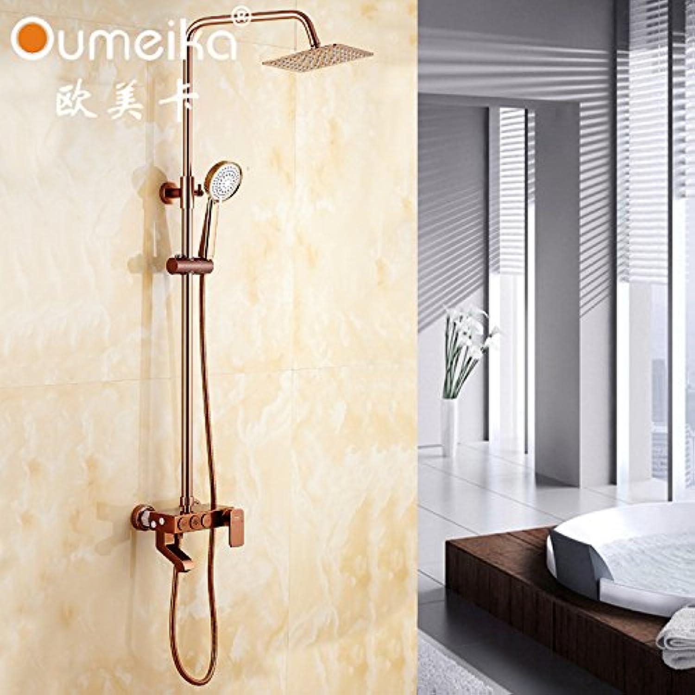 Vintage suit square shower bath shower taps shower shower set three pink gold