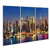 islandburner Tableau Tableaux Vue de Manhattan la Nuit New York USA Cadre sur Toile Impression Photo Affiches