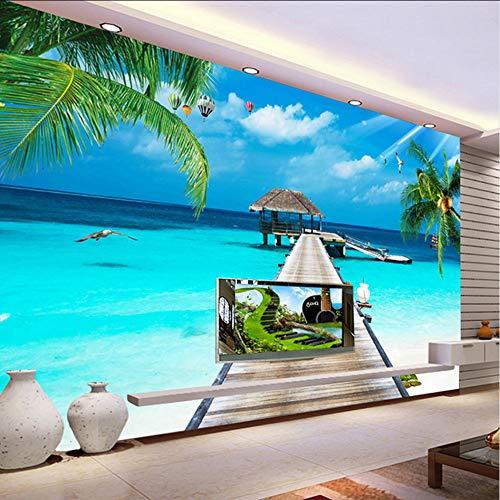 pmhc muurachtergrond voor foto, personaliseerbaar, 3D-TV, Malediven, zee, muurverf, achtergrond palmlandschap 280 x 200 cm