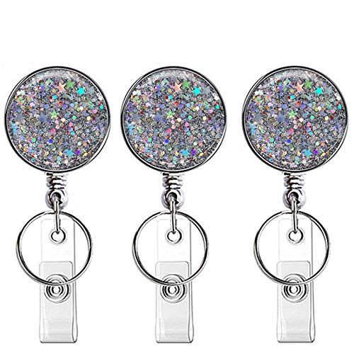 Retractable ID Badge Holder Bling Stars ID Badge Reel with Belt Clip, ID/Name Card Holder and Key Ring Backing for Nurse,Volunteer,Teacher,Student,Office Worker (Pretty Sliver Stars)