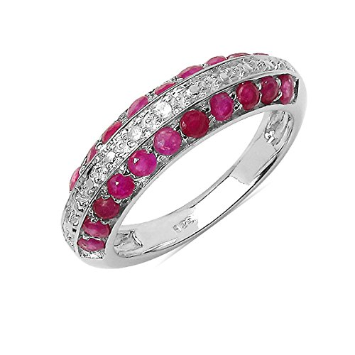 Silvancé - Anello da donna – argento 925 rodiato – vera pietra preziosa: rubino circa 1,07 carati – R4666R_SSR e Argento, 20, colore: Colore: rosso, cod. R4666R_SSR_19