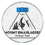 Escala digital de peso corporal de precisión Ronda Nepal Báscula de baño de vidrio templado ultra delgado Mediciones de peso precisas,Montaña Dhaulagiri en el Himalaya Turismo de escalada Temática Ima