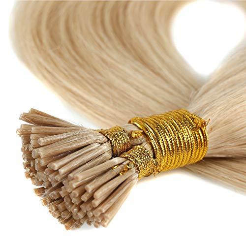 Extension Cheratina Capelli Veri Biondi 100 Ciocche 0.5g/Ciocca I-Tip Extensions 50g 100% Remy Human Hair Umani (55cm #24 Biondo Naturale)