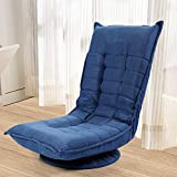JAXPETY 360-Degree Swivel Gaming Chair, Folding Floor Chair with 7 Adjustable Position, Lazy Sofa Lounge Chair for Home Office, Blue