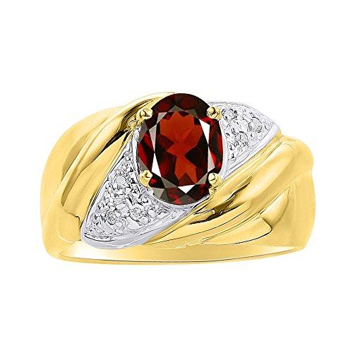 Juego de anillos de diamante y granate en plata chapada en oro amarillo – piedra de color anillo de nacimiento