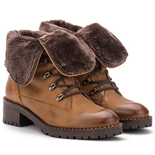 Vintage Foundry Co Milan Women's Fashion Warm Fur Lining Classic Combat Biker Camel Leather Lace-up Ankle-Boots, Round-Toe, Chunky Heels Platform, Rubber Lug Sole; Size 8
