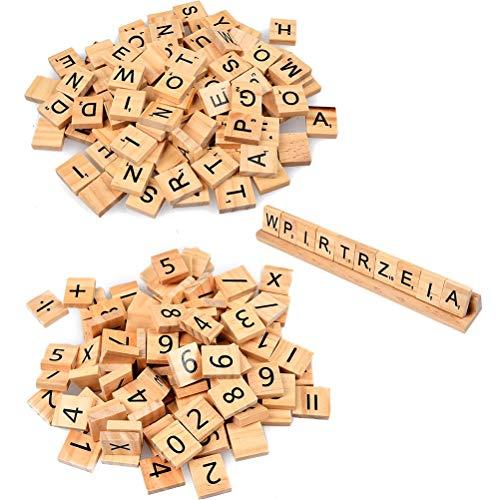 WOWOSS 201Pcs Lettres et Chiffres en Bois Brut, Alphabets Majuscules A à Z et Chiffre 2 x 1,8 cm pour Jeux d'enfants (avec Un Support de Bois)