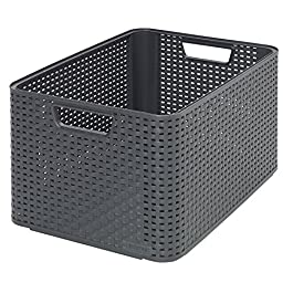 CURVER | Rangement Style Aspect rotin L, Anthracite, Storage Others, 43,6×32,6×23 cm