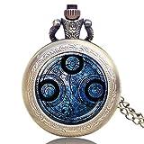 YXDEW Reloj de Bolsillo Reloj de Bolsillo Vintage Blue Quién Collar Bronce Cosplay Hombres Mujeres Relojes Colgante Fob Dial Dial Regalos Punk Retro