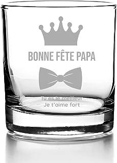 Verre à Whisky avec gravure personnalisée - Papa Royal - Verre Tumbler 30 cl - Cadeau Fête des pères, idée cadeau annivers...