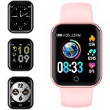 Smart Watch, KUNGIX Bluetooth Fitness Tracker with Heart Rate Monitor Blood Pressure, IP68 Waterproof Sleep Monitor Pedometer SMS Call Notification Activity Watch for Kids Men Women (Pink)