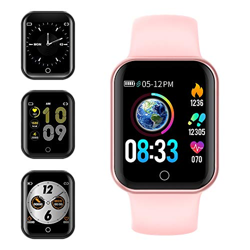 smartwatch ios waterproof KUNGIX Smartwatch Orologio Fitness Trakcer Pressione Sanguigna Monitor Cardiofrequenzimetro da Polso Bluetooth Smart Watch Schermo a Colori Impermeabile IP68 per Donna Uomo (Rosa)