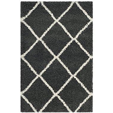 Safavieh Hudson Shag Collection SGH281G Dark Grey and Ivory Moroccan Diamond Trellis Area Rug (4' x 6')