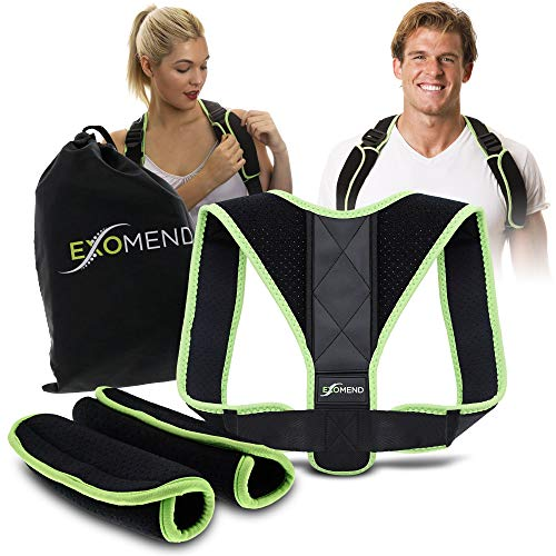EXOMEND Posture Corrector for Men & Women - Back Support Brace for Upper Back & Neck Pain Relief - Anti-Slouching Trainer – Spine Alignment Correction Device - Best for Gamers – M to XL