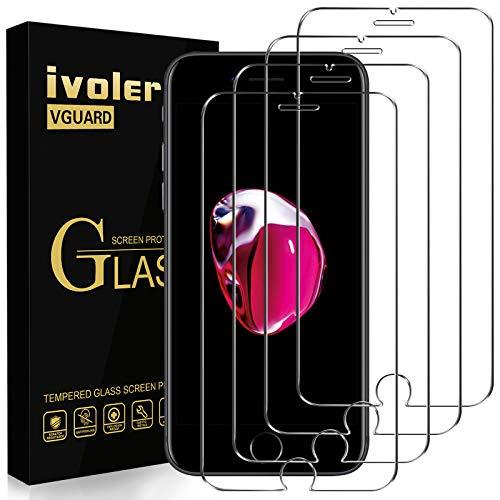 iVoler [4 Pack] Pellicola Vetro Temperato per iPhone SE 2020 / iPhone SE 2 / iPhone 8/7 / 6S / 6, Pellicola Protettiva, Protezione per Schermo - Transparente