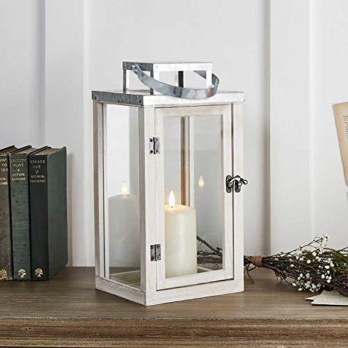 Lights4fun - Lanterna in Legno Bianco con TruGlow® Candela LED a Pile e Manico di Corda per Uso in...