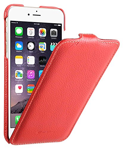 Edle Tasche für Apple iPhone 6S Plus und 6 Plus (5.5 Zoll) / Case Außenseite aus beschichtetem Leder / Cover Innenseite aus Textil / Schutz-Hülle aufklappbar / ultra-slim / Flip-Case / Farbe: Rot
