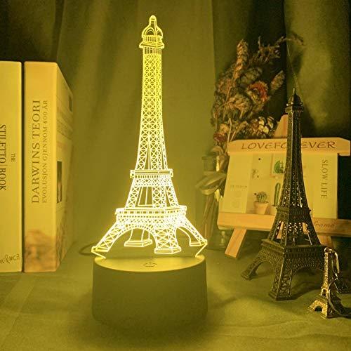 Lámpara de ilusión 3D Luz de noche LEDTorre Eiffel en París7 Lámpara de escritorio que cambia de color Art Home Kid Dormitorio Decoración para dormir Regalos de fiesta de vacaciones-16 colors remote