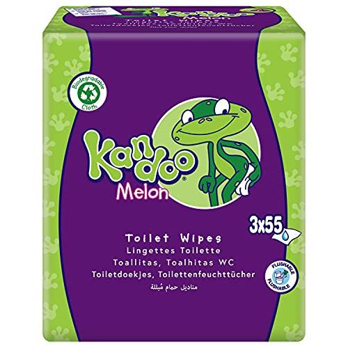 Kandoo - Toallitas húmedas desechables aptas para niños, 3 paquetes de 55 toallitas