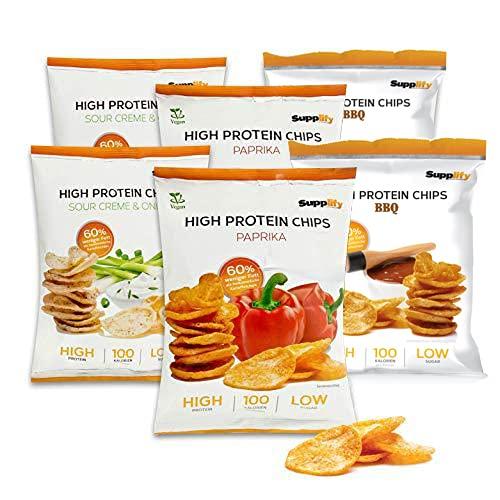 Supplify Protein Chips - Eiweiß Fitness Snack Mix Box, Whey Proteinpulver und Protein Riegel, ideal zum Abnehmen oder als Muskelaufbau Booster- 6x 50g, Mix Box (2x je Geschmack)