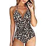 RXRXCOCO Women V Neck One Piece Swimsuits Tummy Control Ruched Swimwear Halter Bathing Suit Leopard Large