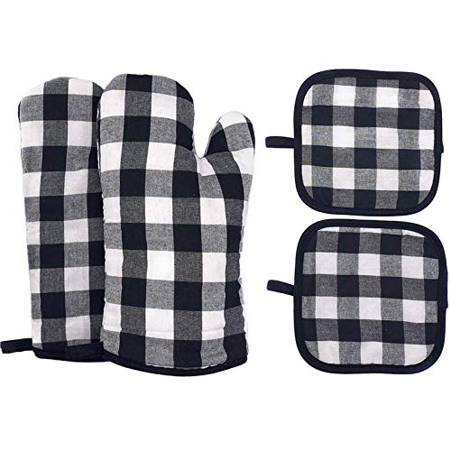 Oven Mitts and Pot Holders Set Heat Resistant BBQ Gloves with NonSlip Surface for Safe Kitchen Cooking Baking Grilling Black