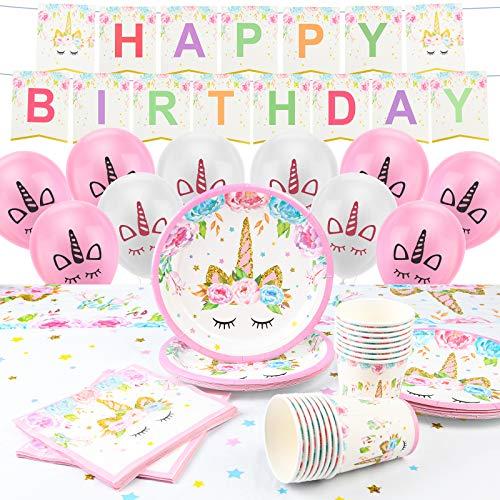 ACWOO - Vajilla para fiestas y cumpleaños infantiles, 126 unidades, decoración de cumpleaños con unicornio, kit de unicornio para 16 invitados incluidos platos, globos, manteles y accesorios