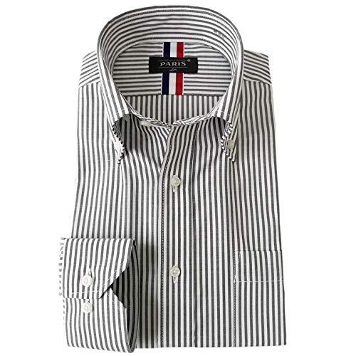 [パリス16ク] ワイシャツ メンズ 長袖 形態安定 ボタンダウン ドゥエボットーニ カッタウェイ グレーピンストライプ L K
