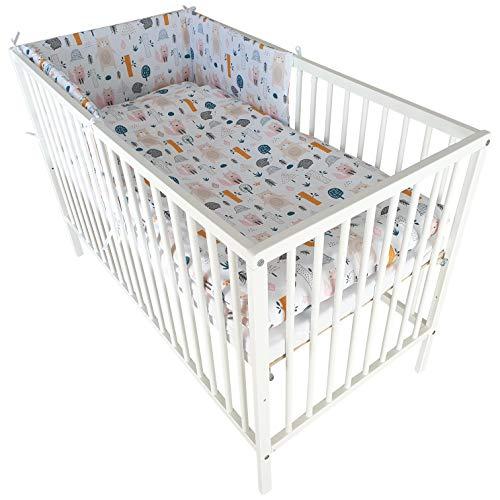 Juego de cama de 8 piezas, cuna de madera blanca y un colchón de 60 x 120 cm para un niño (animales del bosque)