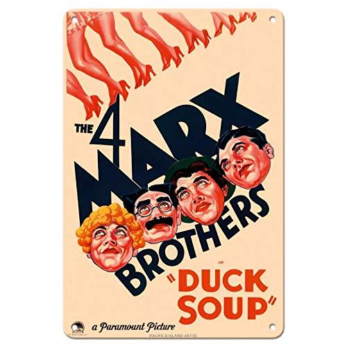 Los 4 hermanos Marx en sopa de pato, cartel de película vintage, cartel de chapa de metal vintage-20x30cm