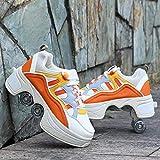 TVVT Doble Fila Patines Roller Sneakers Deformed Zapatos Zapatos de Polea Invisible Patines Skates Quad Kick Roller Patines, Unisex Aún no resbaladizo Buena flexib 39.5