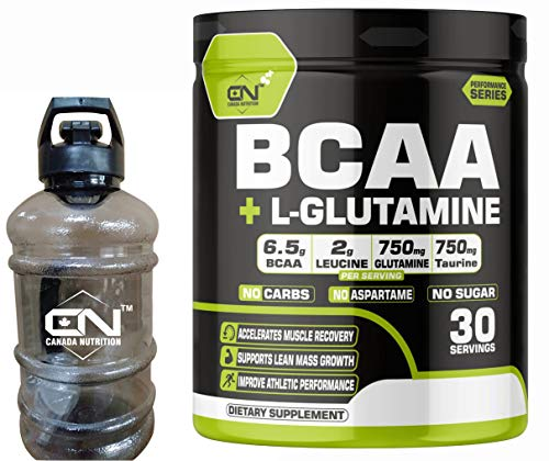 Canada Nutrition BCAA 2:1:1 Instantized Energy drink for Workout BCAA Pre/Post Workout Supplement, Recovery, Muscle Protein Synthesis; L-Glutamine; Burn Fat[30 Serv; Green Apple]Free Gym Gallon Shaker