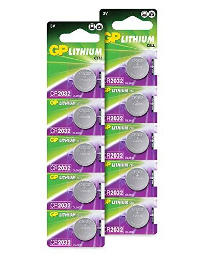 CR2032 - Confezione da 10 Batterie a Bottone al Litio 2032 da 3V – Pile di Alta Qualità – GP Extra Lithium