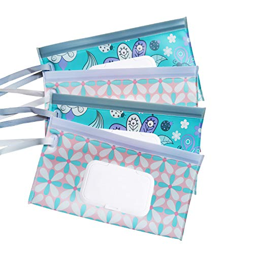 4 Pack Reusable Wet Wipe Pouch - Dispenser for Baby or Personal Wipes,Wet Wipe Portable Travel Cases (4PACK-EE)