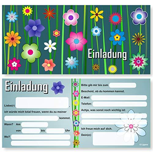 Ligano 12 Einladungskarten für Geburtstag und Party - Geburtstagseinladungen mit Blumen-Motiv