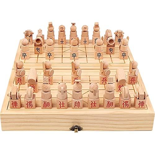 ZLQBHJ Chinesisches Schach-Set, hölzernförmiges Schach mit hölzernen Stücken, tragbarer Schach-Set, faltende handgefertigte Premium-Brett-Strategiespiele for Kinder und Erwachsene